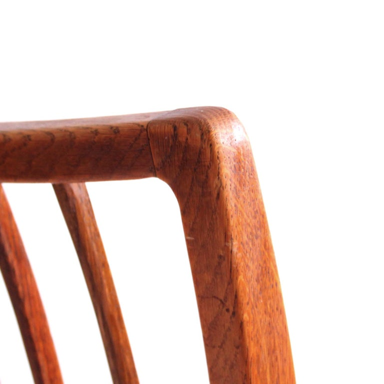 Six Dining Chairs Oak and Nigerian Leather, Denmark, 1930s For Sale 1