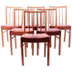 Jacob Kjær Six Dining Chairs Oak and Nigerian Leather, Denmark, 1930s