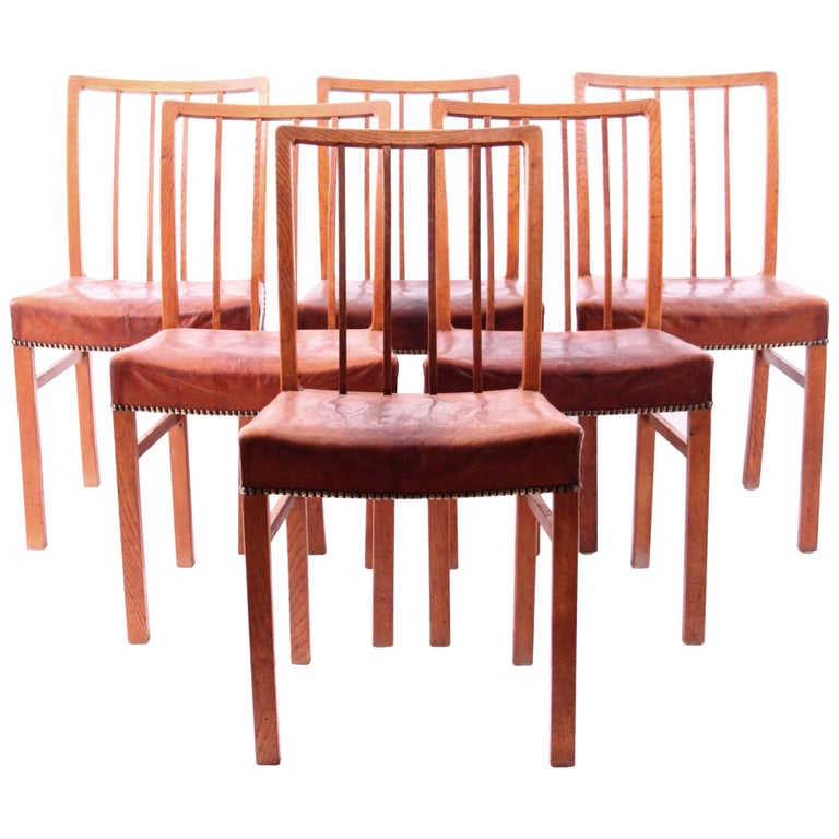 Six Dining Chairs Oak and Nigerian Leather, Denmark, 1930s For Sale