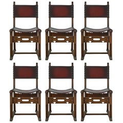 Six Dining Chairs Spanish circa 1920 Leather Studs Carved Wood