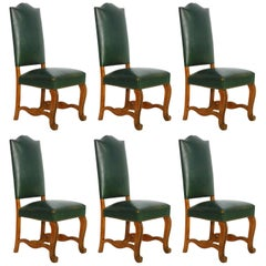 Six Dining Chairs French Spanish Green Leather Upholstered, circa 1920