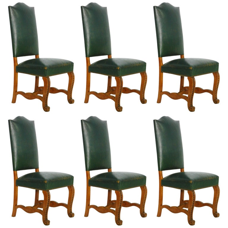Six Dining Chairs Spanish Green Leather Upholstered Circa