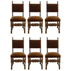 Six Dining Chairs Vintage 20th Century Spanish Velvet Brass Studs Oak