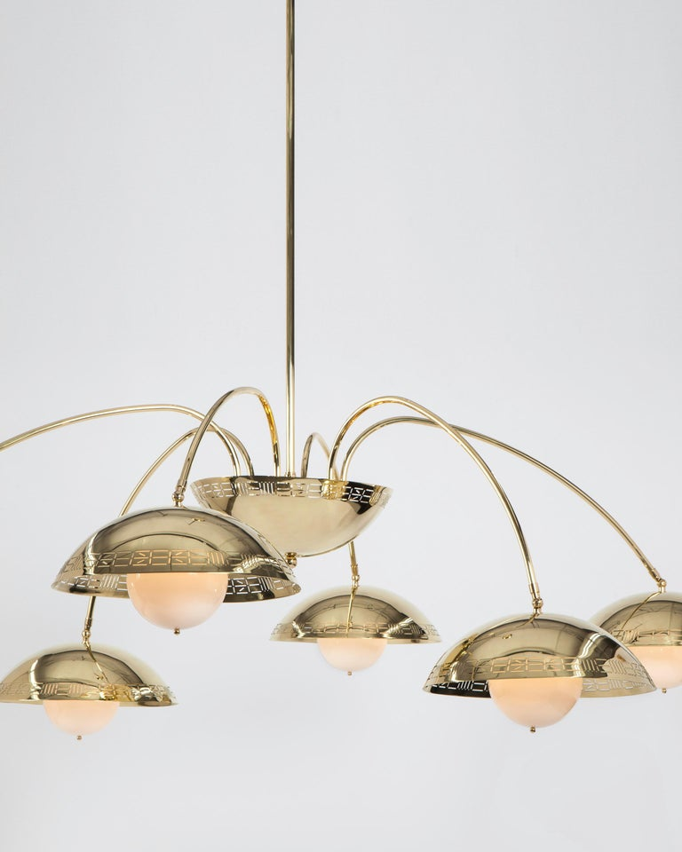 Modern Six Dome Chandelier in Polished Brass Designed by Commune for Remains Lighting For Sale