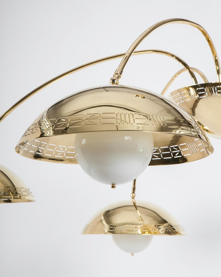 American Six Dome Chandelier in Polished Brass Designed by Commune for Remains Lighting For Sale