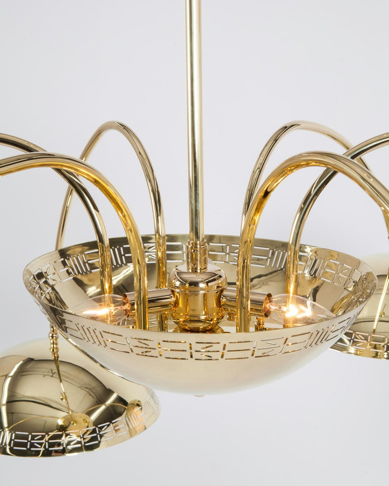 Six Dome Chandelier in Polished Brass Designed by Commune for Remains Lighting In New Condition For Sale In New York, NY