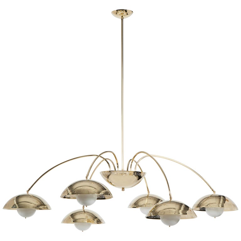 Six Dome Chandelier in Polished Brass Designed by Commune for Remains Lighting For Sale
