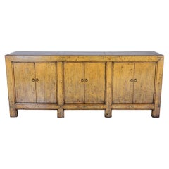 Six Door Server Mustard Tone Paint Patina with Lacquer Glaze