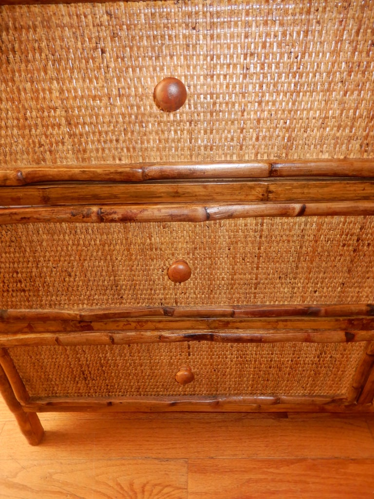 Six-Drawer Bamboo and Cane British Colonial Dresser In Excellent Condition For Sale In Bellport, NY