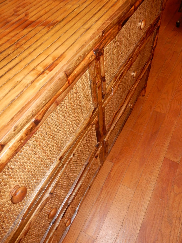 20th Century Six-Drawer Bamboo and Cane British Colonial Dresser For Sale