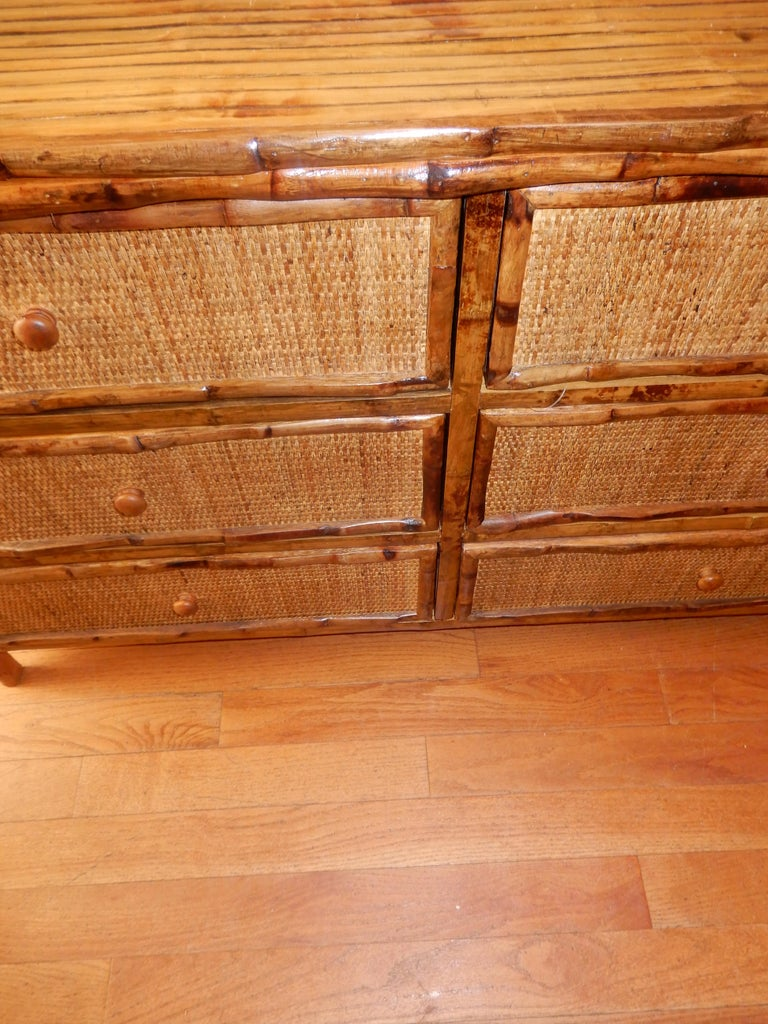 Six-Drawer Bamboo and Cane British Colonial Dresser For Sale 1