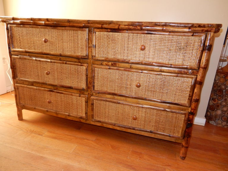 Six-Drawer Bamboo and Cane British Colonial Dresser For Sale 2