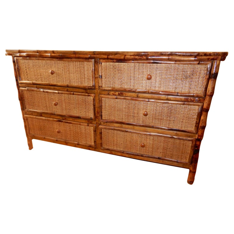 Six-Drawer Bamboo and Cane British Colonial Dresser For Sale