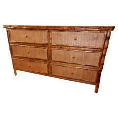 Six-Drawer Bamboo and Cane West Indies Dresser