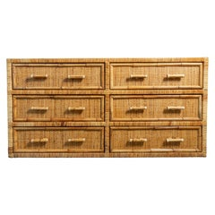Six-Drawer Rattan and Woven Wicker Credenza