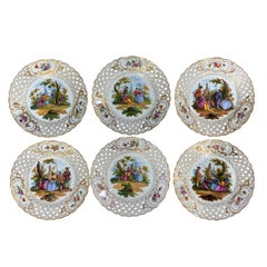 Six Dresden Reticulated Painted Watteau Scenic Cabinet Plates by Carl Thieme