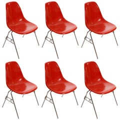 Six DSS Stacking Chairs, Charles & Ray Eames Herman Miller, Red Fiberglass, 1974