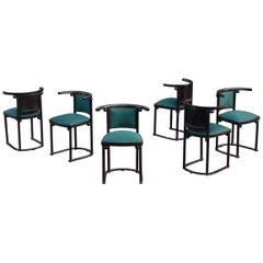 Six Early 1st Edition Black Lacquer Fledermaus Chairs, Josef Hoffmann circa 1910