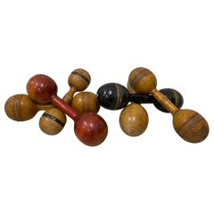 Six Early 20th Century Wooden Dumbbell Exercise Gym Hand Weight, circa 1930, Set