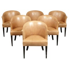 Six Edward Wormley Dining Chairs. Mid-Century Modern Leather Upholstered