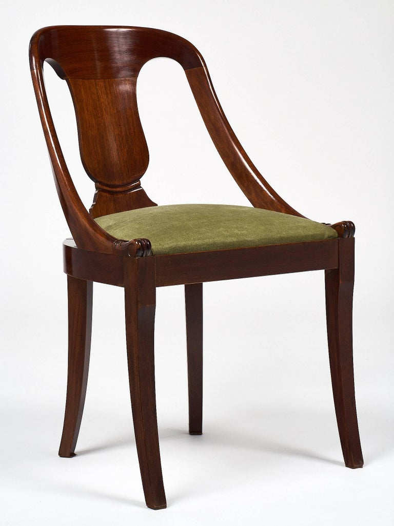 French Six Empire Style Gondola Chairs For Sale
