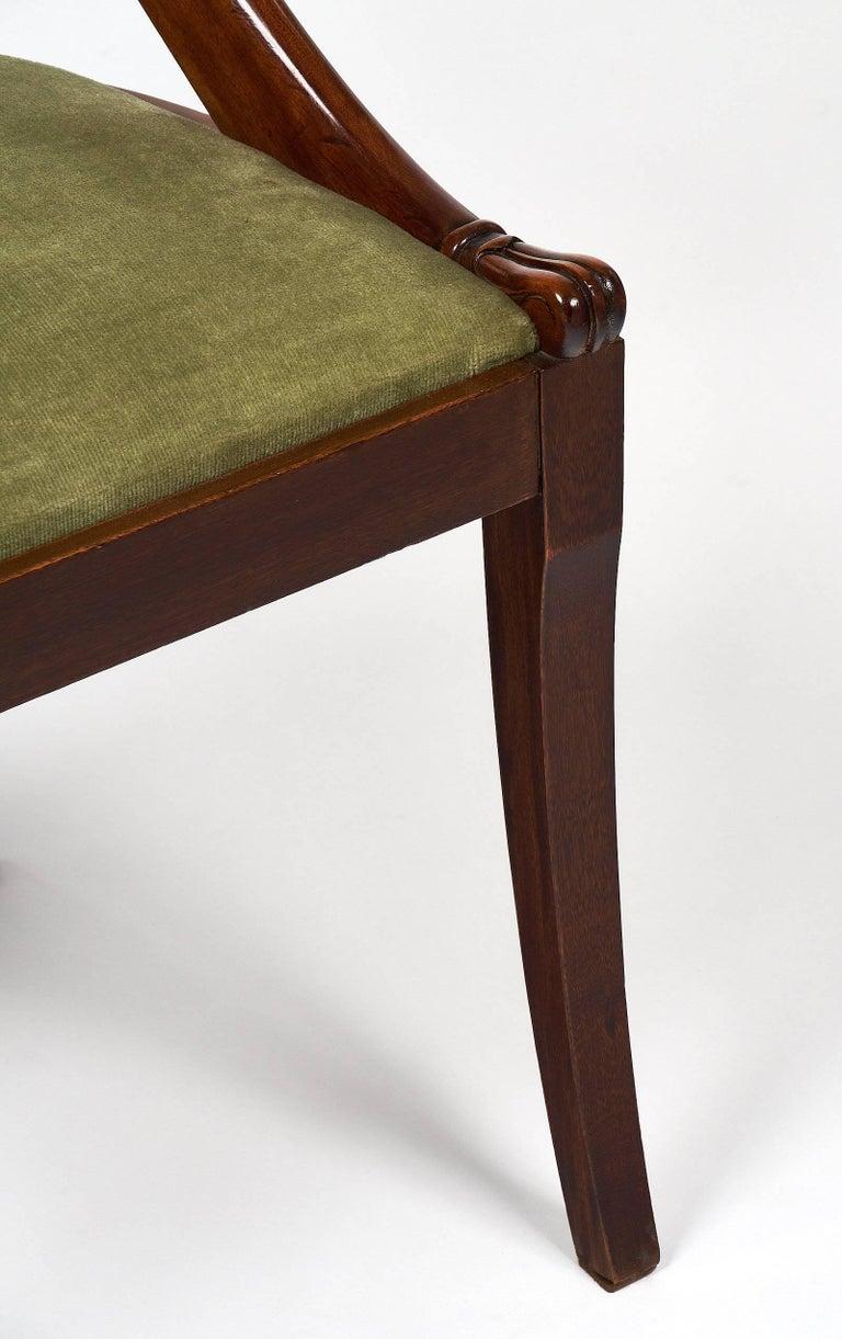 Velvet Six Empire Style Gondola Chairs For Sale