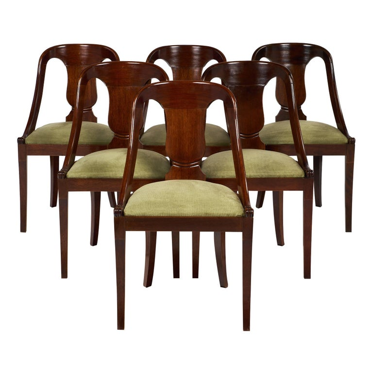 Six Empire Style Gondola Chairs For Sale