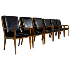 Six Eugen Schmidt High-Back Conference Chairs in Leather and Wood