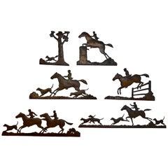 Six Extraordinary Antique Copper Fox Hunt Motif Wall Sculptures