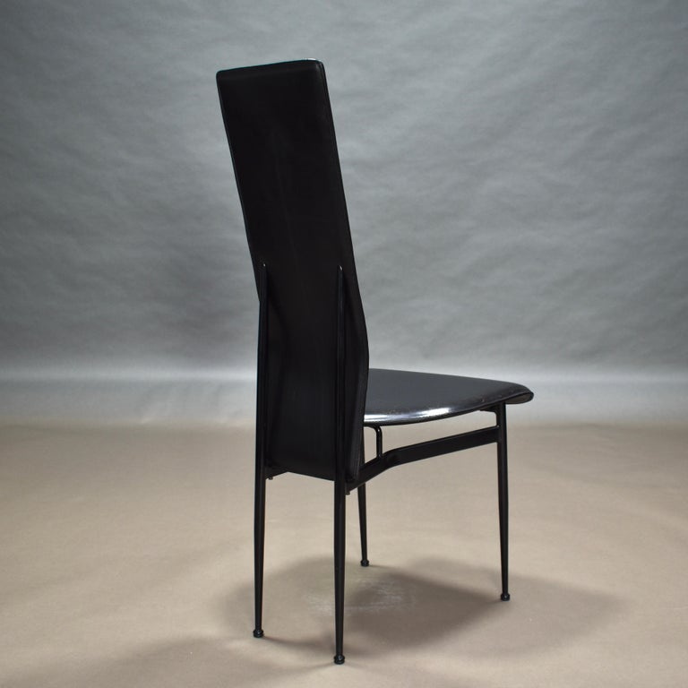 Six Fasem Dining Chairs by Vegni and Gualtierotti in Black Leather, Italy For Sale 5