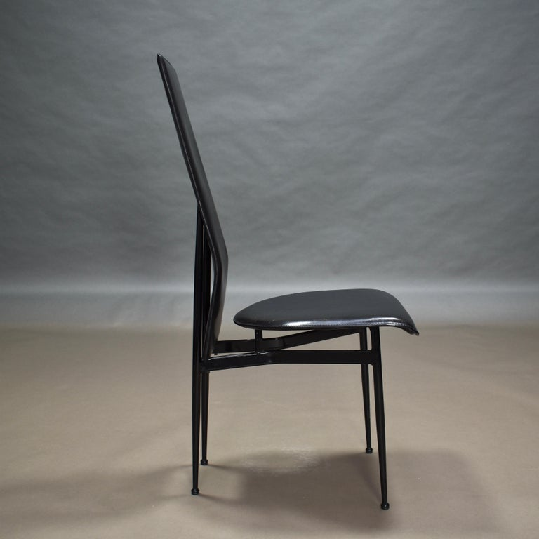 Six Fasem Dining Chairs by Vegni and Gualtierotti in Black Leather, Italy For Sale 6
