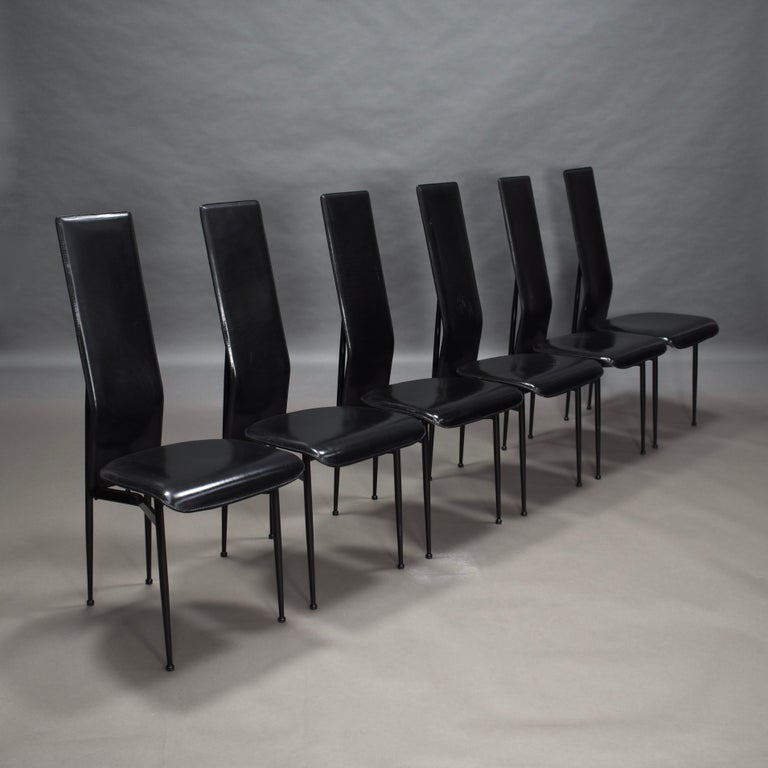 Set of six dining chairs in black leather by Giancarlo Vegni and Gianfranco Gualtierotti for Fasem, Italy, circa 1980.  Designer: Giancarlo Vegni and Gianfranco Gualtierotti  Manufacturer: Fasem  Country: Italy  Model: dining chair  Design
