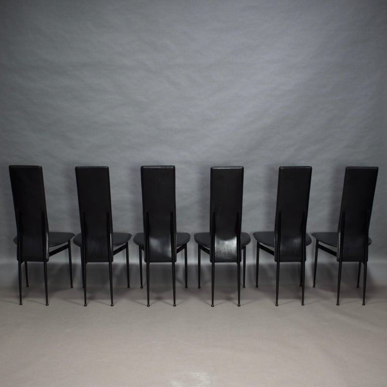 Mid-Century Modern Six Fasem Dining Chairs by Vegni and Gualtierotti in Black Leather, Italy For Sale