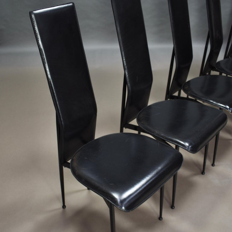 Italian Six Fasem Dining Chairs by Vegni and Gualtierotti in Black Leather, Italy For Sale