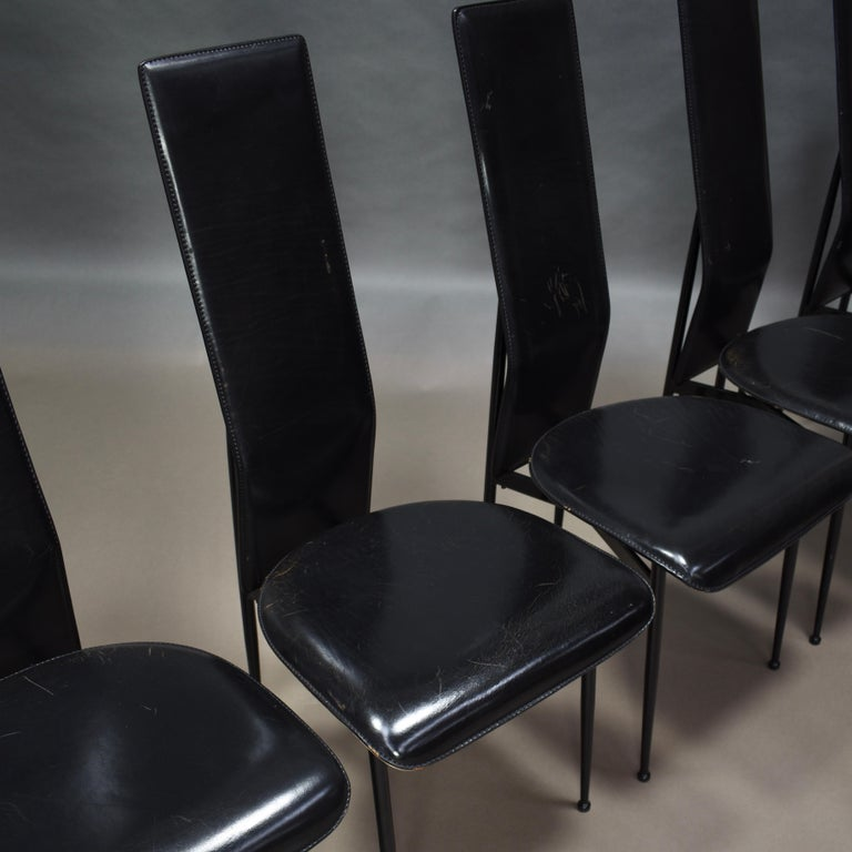 20th Century Six Fasem Dining Chairs by Vegni and Gualtierotti in Black Leather, Italy For Sale