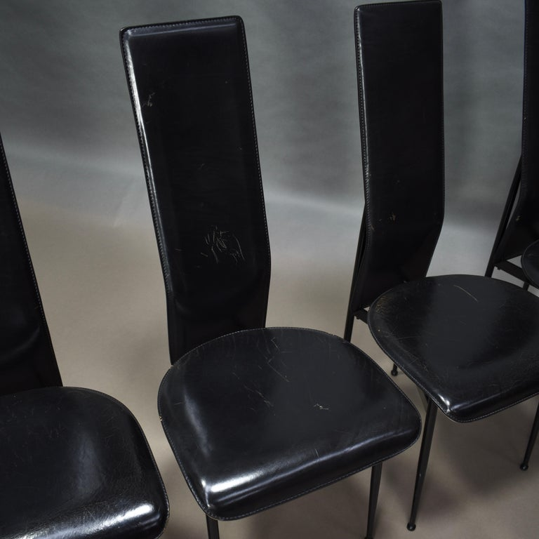 Metal Six Fasem Dining Chairs by Vegni and Gualtierotti in Black Leather, Italy For Sale