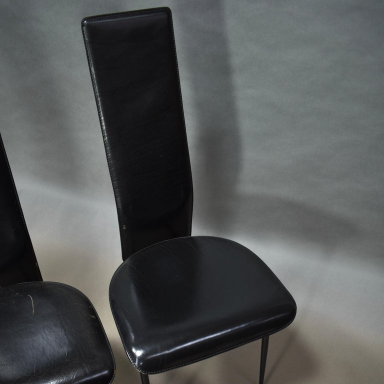 Six Fasem Dining Chairs by Vegni and Gualtierotti in Black Leather, Italy For Sale 2