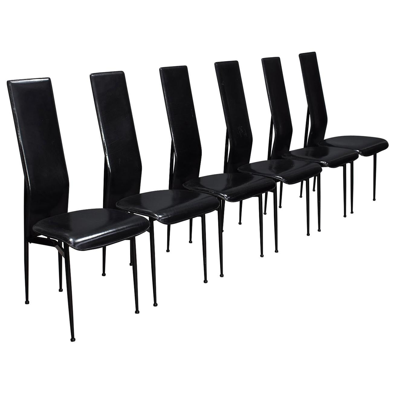 Six Fasem Dining Chairs by Vegni and Gualtierotti in Black Leather, Italy