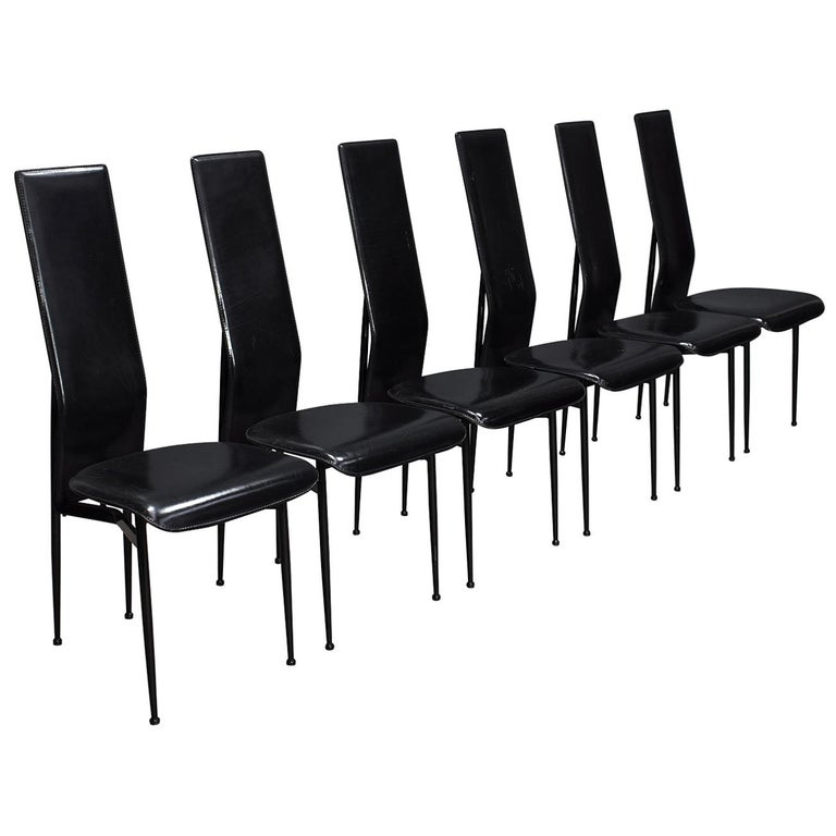 Six Fasem Dining Chairs by Vegni and Gualtierotti in Black Leather, Italy For Sale