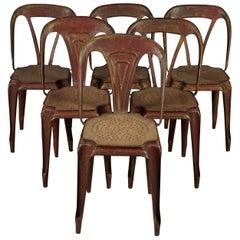 Six Fibrocit Bistro Chairs, France, circa 1950