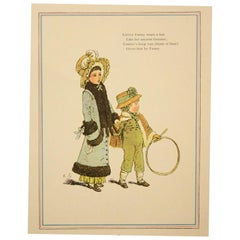 Six Framed Antique Kate Greenaway Prints, English, circa 1920