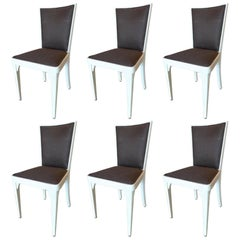 Six French 1940s Painted Pine Re-Upholstered Dining Chairs
