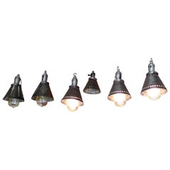 Six French 1950s Steel Lamp Shades as Hanging Ceiling Pendants