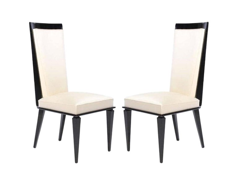 Six French Art Deco Lacquered Dining Chairs In Good Condition For Sale In Dallas, TX