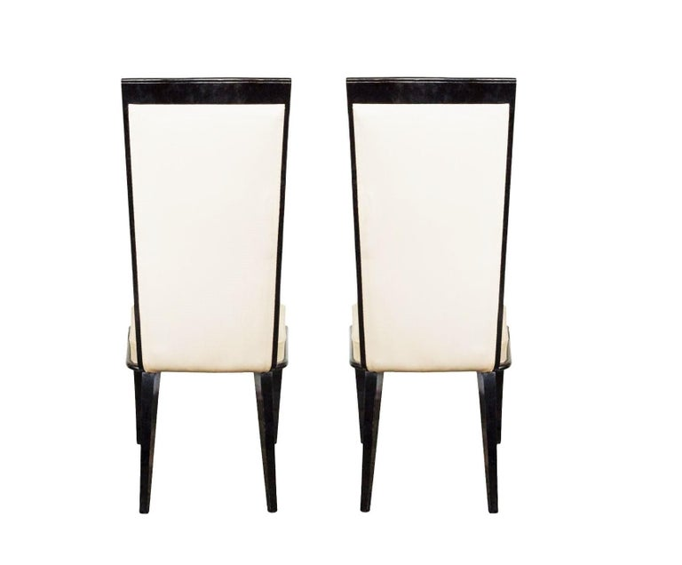 Upholstery Six French Art Deco Lacquered Dining Chairs For Sale