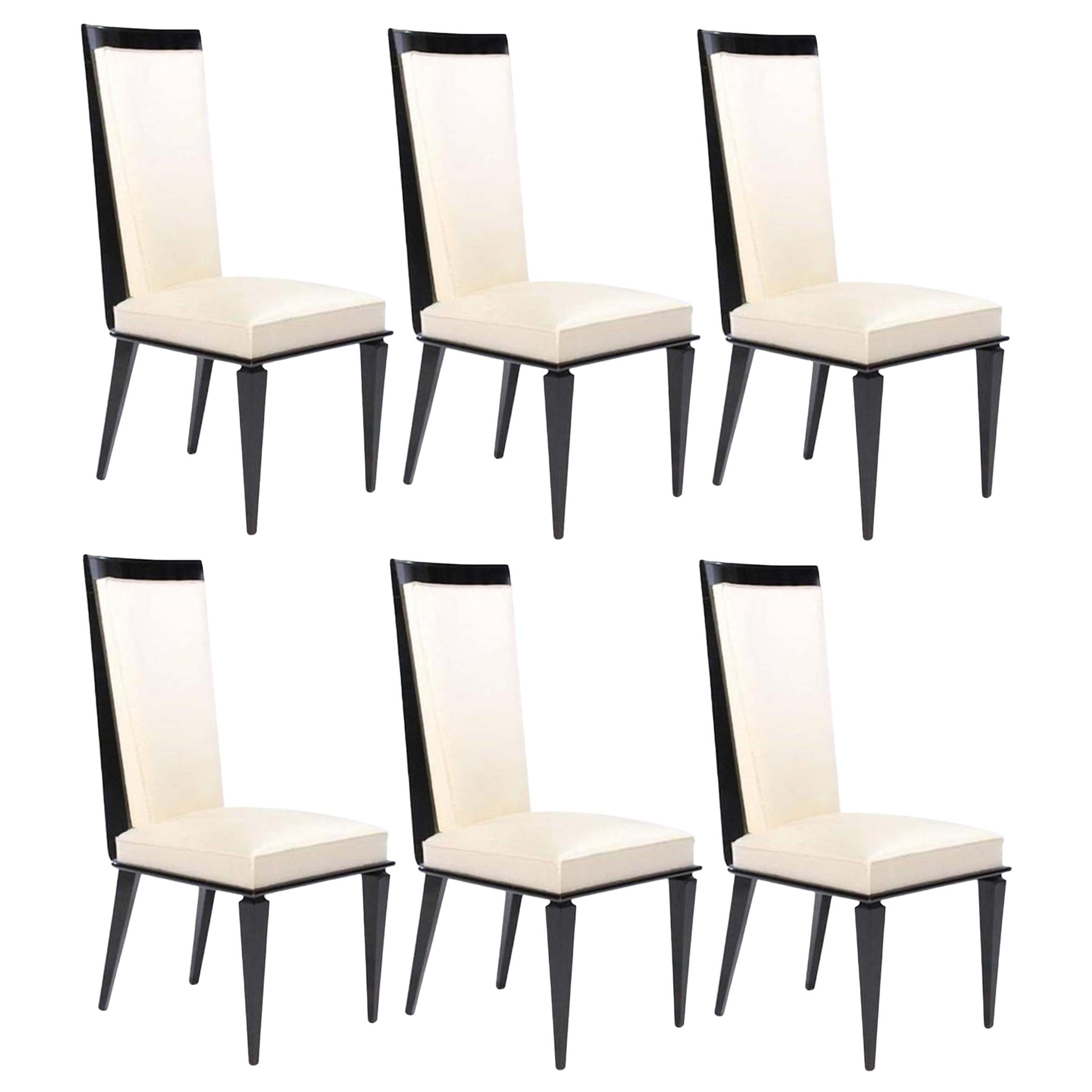 Six French Art Deco Lacquered Dining Chairs