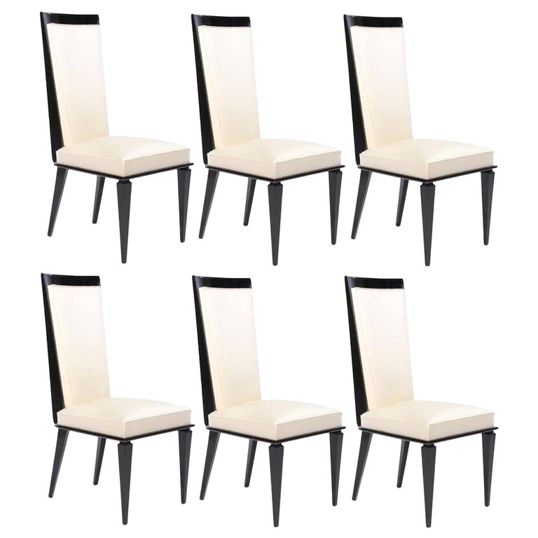 Six French Art Deco Lacquered Dining Chairs For Sale