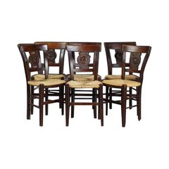 Six French Carved Walnut Rushseat Dining Chairs