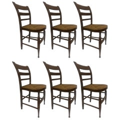 Six French Chairs with Woven Straw Seat