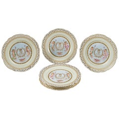 Six French Chateau Sevres Porcelain Pink Ground Painted Plates